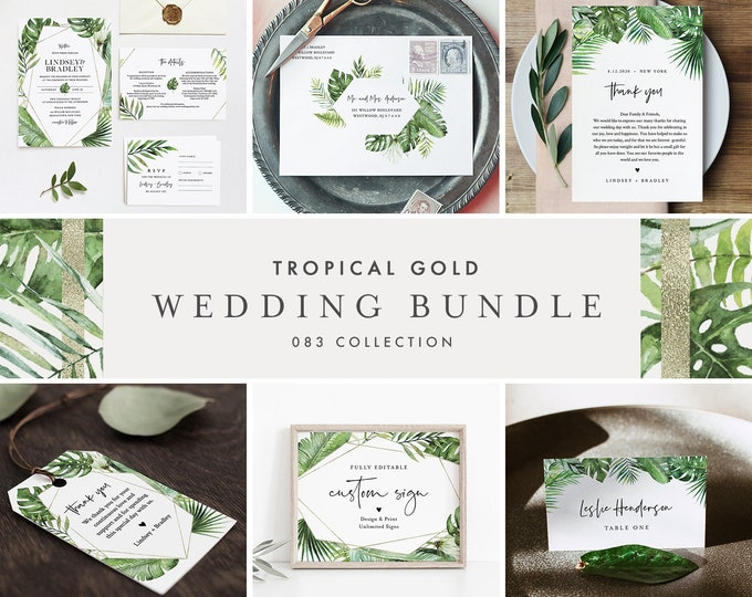 Tropical and Gold Wedding Bundle, Beach Wedding Invitation Suite + Day Of Templates, Editable Text, Instant Download, Templett #083-BUNDLE