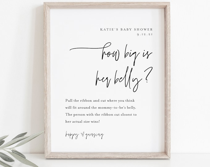 How Big Is Her Belly Game, Minimalist Baby Shower Sign, 100% Editable Template, Printable, Instant Download, Templett  #0009-200BASG