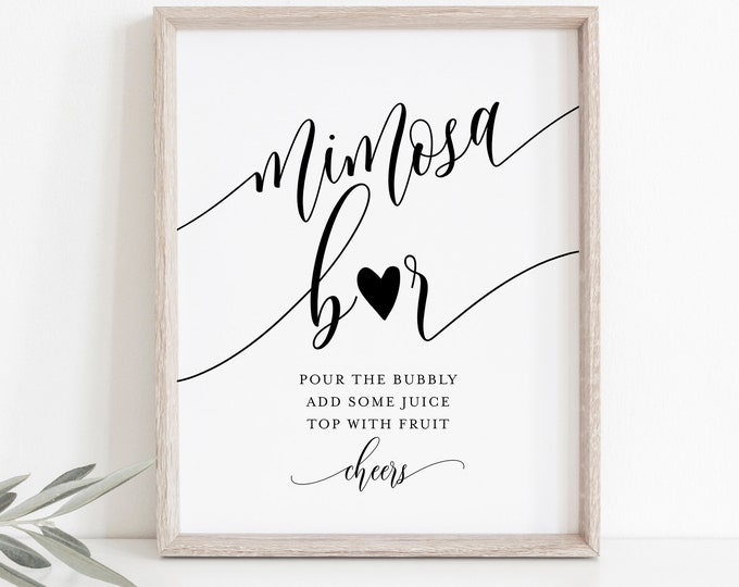 Mimosa Bar Sign, Bridal Shower Mimosa Sign, Wedding Mimosa Bar, Bubbly Bar, Editable Template, Instant Download, Templett 8x10 #008-13S