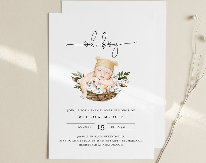 Baby Boy Shower Invitation Template, Oh Boy, 100% Editable Text, Instant Download, Templett #0005-178BA