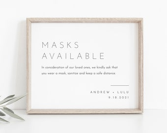 Minimalist Masks Available Sign, Social Distance, Covid Wedding, Bridal Shower, Baby Shower, Hand Sanitizer, Instant Download #094-13S