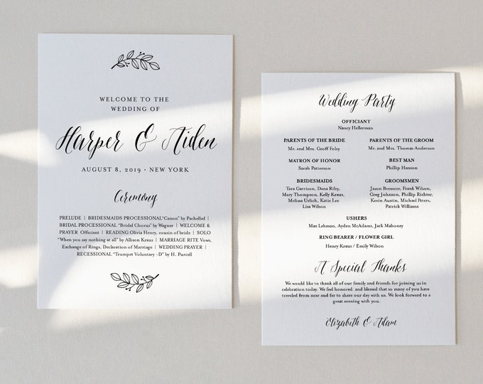 Wedding Program Printable, INSTANT DOWNLOAD, Order of Service Template, 100% Editable, Fan or Flat Program #039-407WP
