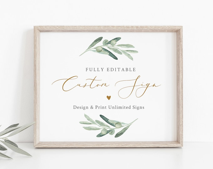 Custom Sign Template, Wedding or Bridal Shower Table Sign, Olive Greenery, Create Any Sign, Unlimited, INSTANT DOWNLOAD, Templett #081-133CS