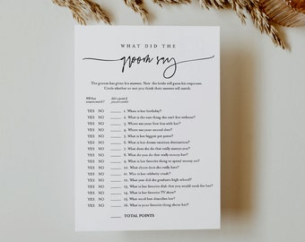 What Did the Groom Say, Minimalist Bridal Shower Game, Printable Bridal Game, Editable Template, Instant Download, Templett 5x7 #0009-354BG