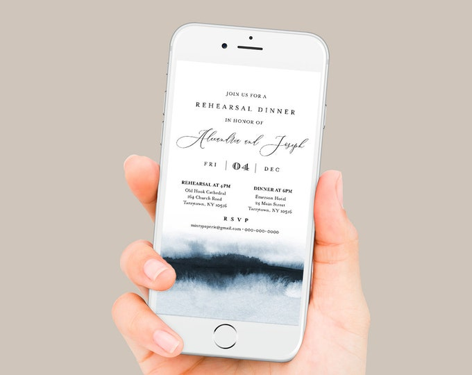 Digital Rehearsal Dinner Invite, Modern Watercolor Wedding Electronic Invitation, Evite, Text Message, Templett Instant Download 093A-101RDD