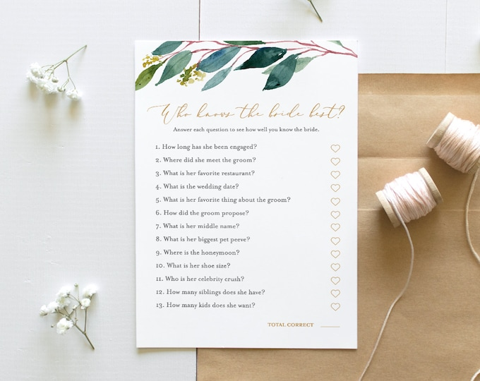 Greenery Bridal Shower Game, Who Knows the Bride Best, Printable How Well Do You Know the Bride, INSTANT DOWNLOAD, Editable #044-121BG
