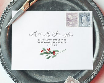 Holly Envelope Template, Christmas Envelope Printable, Winter Wedding Invitation Envelope, Address, Instant Download, Templett #071-119EN