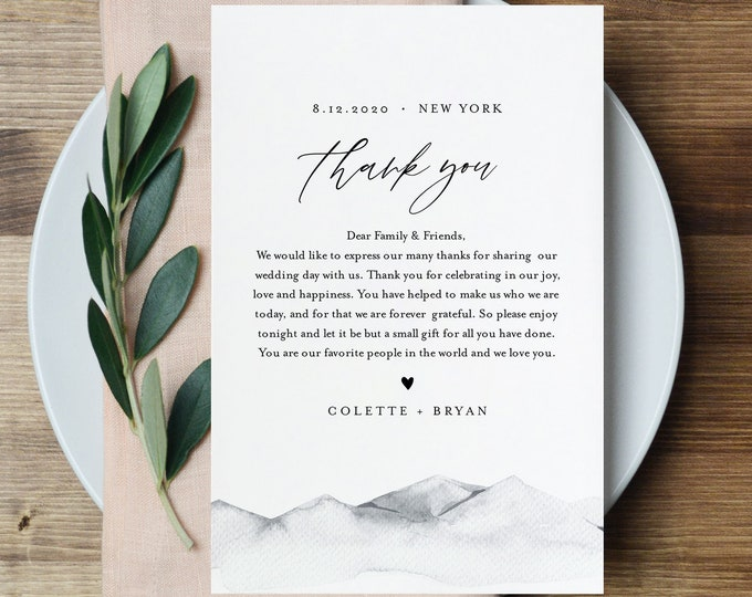 Rustic Wedding Thank You Letter, Mountain In Lieu of Favor Card, Napkin Note, INSTANT DOWNLOAD, Editable Template, TEMPLETT #004-124TYN