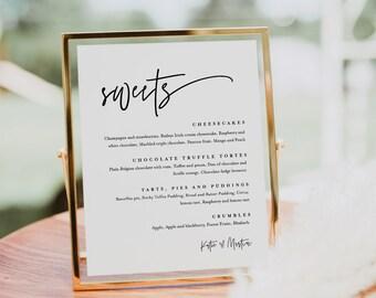 Minimalist Dessert Menu Sign, Sweets Menu, Printable Wedding Dessert Bar Station, Editable Template, Instant Download, Templett #0009-101DM