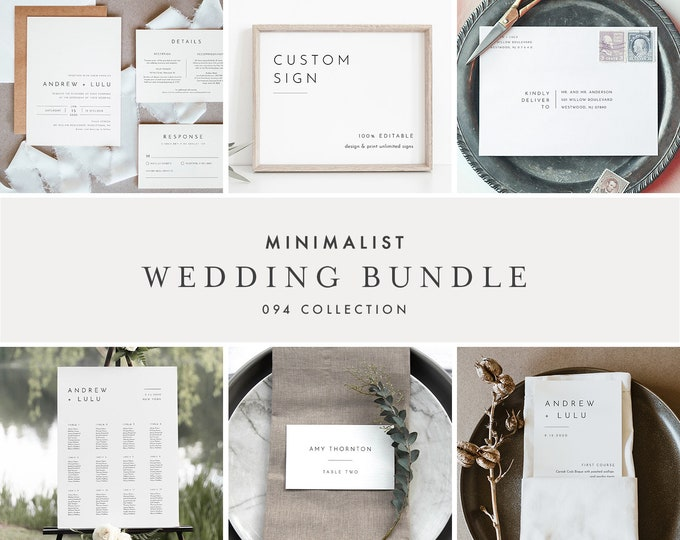 Minimalist Clean Wedding Bundle, Wedding Essential Template, Simple Invitation Suite, 100% Editable, Instant Download, Templett #094-BUNDLE