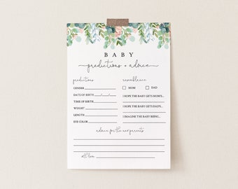 Baby Predictions and Advice Card, Printable Lush Garden Greenery Baby Shower, Editable Text, DIY Baby Advice, INSTANT DOWNLOAD #068A-151BASG