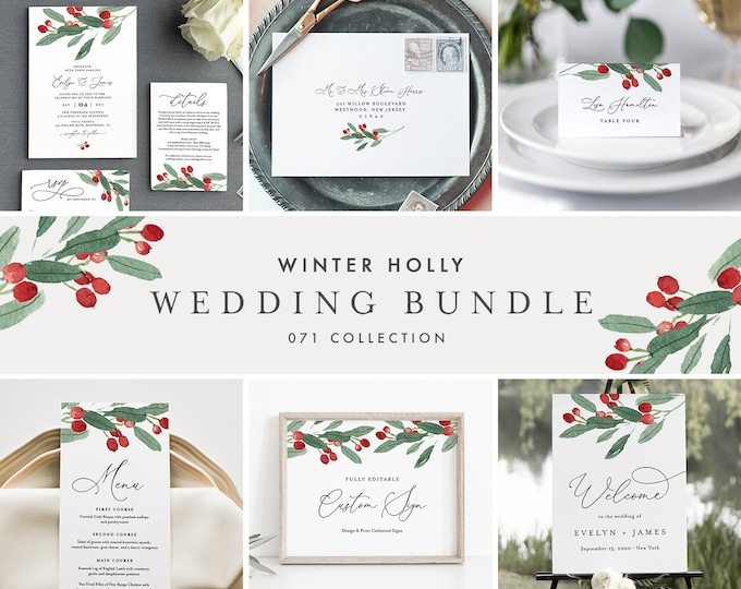 Winter Holly Wedding Bundle, Christmas Wedding Invitation Suite + Day Of Templates, Editable Text, Instant Download, Templett #071-BUNDLE