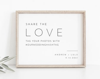 Wedding Hashtag Sign, Social Media Sign, Share the Love, Editable Template, Minimal Instagram Sign, Instant Download, Templett 8x10 #094-21S