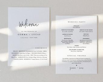 Minimalist Wedding Program, Fan or Flat Program, Modern & Simple Order of Service, Editable Template, Instant Download, Templett #095A-429WP