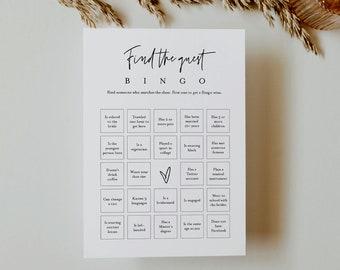 Find the Guest Bingo Game, Minimalist Bridal Shower Bingo, Baby Shower, Printable, Editable Template, Instant Download, Templett #0009-393BG