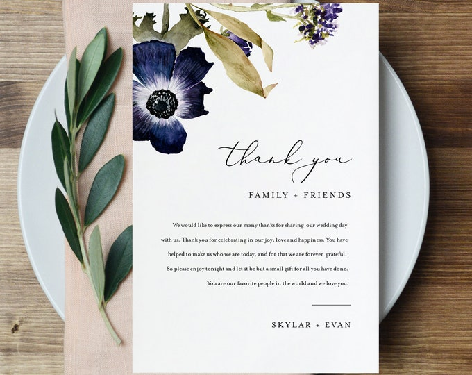 Anemone Thank You Letter, Floral Napkin Note, Printable Menu Thank You, Editable Template, Instant Download, Templett 4x6 #0014-155TYN