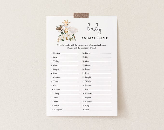 Baby Animal Game, Printable Name the Baby, Social Distance Baby Shower Game, Editable Template, Instant Download, Templett  #0008-195BASG