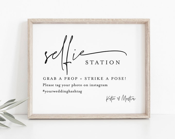Selfie Station Sign, Printable Minimalist Wedding Photo Booth Sign, Modern Photobooth Sign, Instant Download, Templett, 8x10 #0009-54S