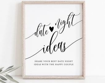 Date Night Ideas, Advice & Wishes Sign and Card, Date Jar, Bridal Shower Game, INSTANT DOWNLOAD, Templett, 8x10 Sign, 3.5x5 Card #008-14S