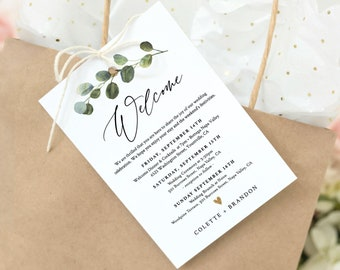 Welcome Bag Tag, Welcome Letter and Itinerary Template, Printable Welcome Note, Order of Events, 100% Editable Text, Templett #082-103WBT