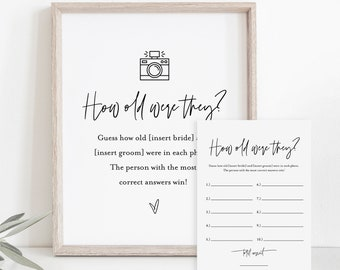 How Old Were They Bridal Shower Game Template, Couples Photo Game, Minimalist Bridal Shower, Editable, Instant Download, Templett 0009-389BG