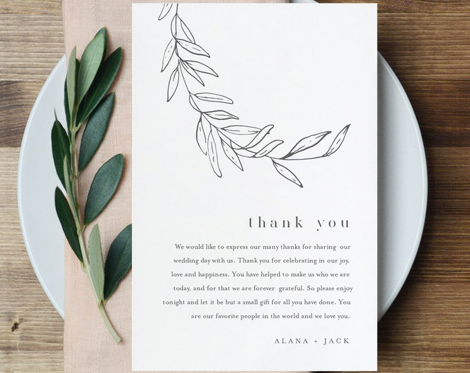 Laurel Thank You Letter Template, Editable Minimalist Wedding Thank You Note, Instant Download, Printable In Lieu of Favor Card 0006B-149TYN