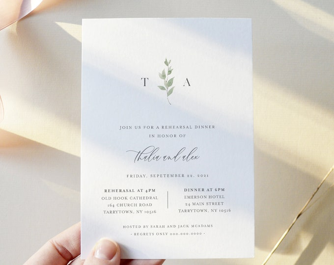 Delicate Greenery Rehearsal Dinner Invitation Template, Minimalist Rehearsal Invite, 100% Editable, Instant Download, Templett #0004B-155RD