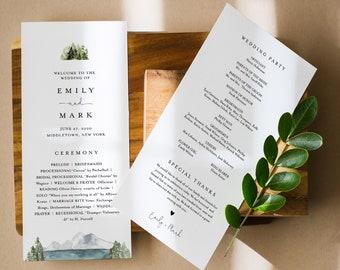 Lake Wedding Program Template, Rustic Mountain Pine Order of Service, Editable, Printable Program, Instant Download, Templett #017A-233WP