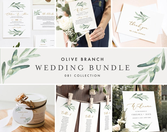 Olive Branch Wedding Bundle, Invitation Suite and Day Of Templates, 100% Editable Text, Greenery, Instant Download, Templett 081-BUNDLE