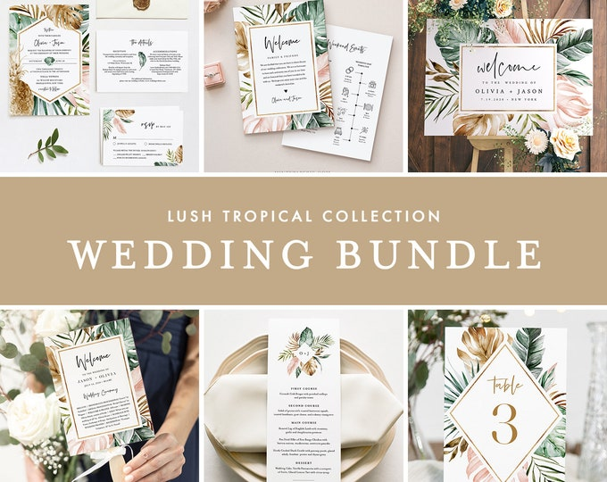 Tropical Wedding Bundle, Beach Wedding Essential Templates, Invitation Suite, 100% Editable Text, Instant Download, Templett #087-BUNDLE