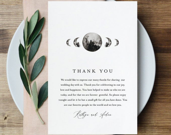 Celestial Thank You Letter Template, Mountain Moon Wedding, Printable Thank You Napkin Card, Instant Download, Templett, 4x6 #0003-152TYN