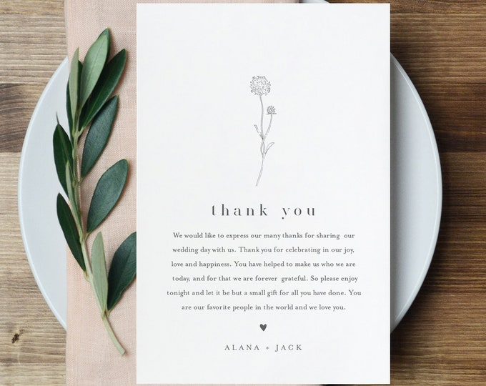 Dandelion Thank You Letter Template, Editable Wedding Thank You Note, Instant Download, Printable In Lieu of Favor Card #0006A-148TYN