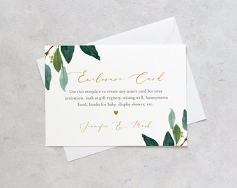 Greenery Enclosure Card, Wedding Invitation Insert, Baby Shower Insert, Editable Details, Info, Accommodations, Instant Download #044-158EC