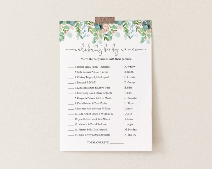 Celebrity Baby Name Game, Printable Baby Shower Game, Baby Name Game, Lush Garden Greenery, Editable Template, Instant Download 068A-154BASG