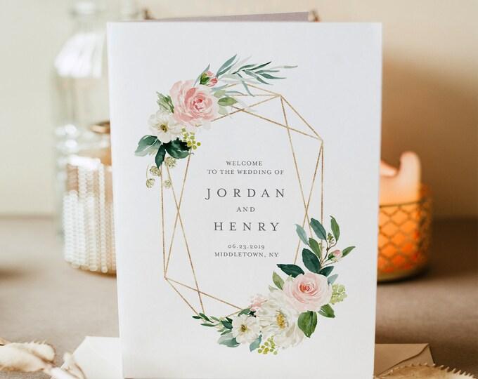 Folded Wedding Program Template, INSTANT DOWNLOAD, Order of Service, 100% Editable, Blush, Peach & Gold Floral, Boho Wedding  #043-118WP