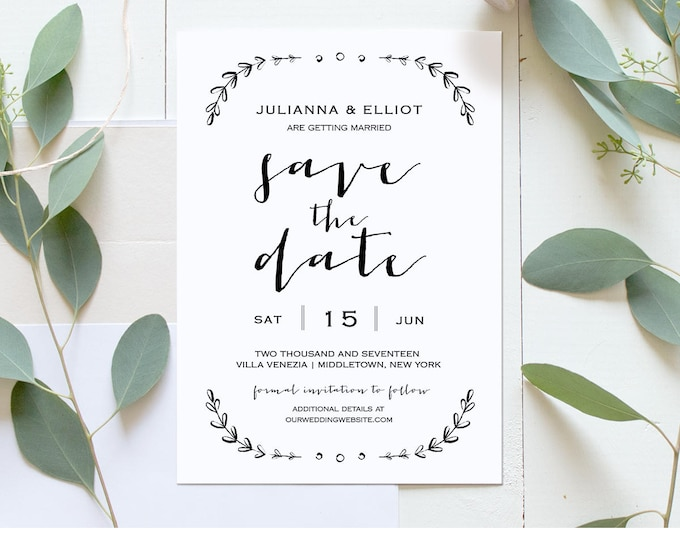 Printable Save the Date Template, Rustic Wedding Date Card, Save the Date Announcement, Editable, Instant Download, Digital #031-119SD
