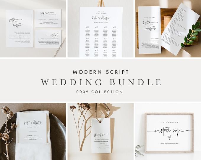 Modern Script Wedding Bundle, Simple Minimalist Invitation Suite + Wedding Essentials, 100% Editable Templates, Templett #0009-BUNDLE