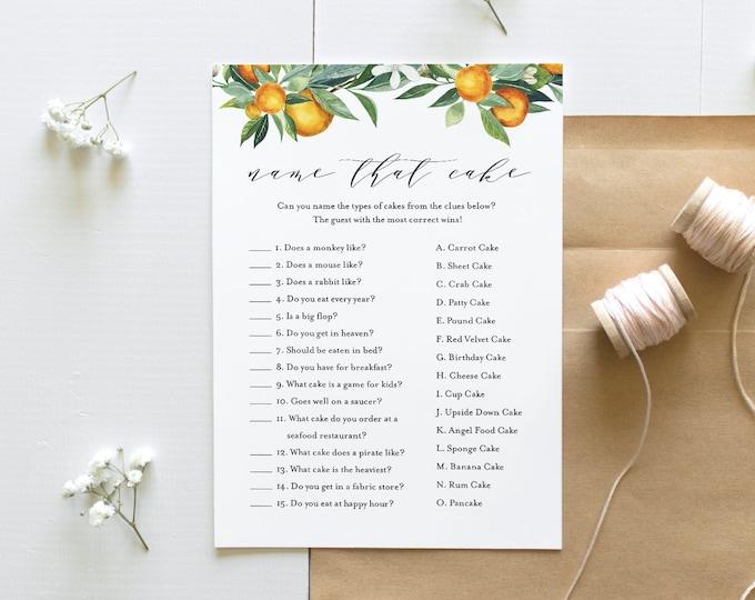Name That Cake Bridal Shower Game, Printable Citrus Orange Bridal Game, Instant Download, Editable Template, Templett, 5x7 #084-234BG