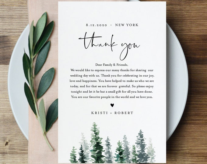 Pine Tree Thank You Letter, Napkin Note, Wedding Menu Thank You, Editable Template, In Lieu of Favors, INSTANT DOWNLOAD, 4x6 #073-121TYN
