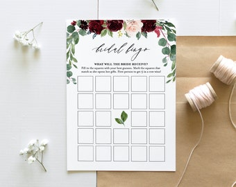 Bridal Shower Bingo Game, Instant Download, Printable Boho Floral Bridal Bingo Shower Game Template, Editable Text, DIY, Templett #062-127BG