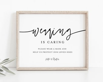 Wearing is Caring Sign Template, Printable Wear a Mask Sign, Social Distance Covid Wedding Sign, Instant Download, Templett, 8x10 #0009-14S
