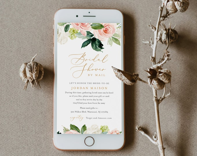 Bridal Shower by Mail Invitation Template, Social Distancing Invite, Evite Wedding Shower, Editable, Instant Download, Templett #043-270BS
