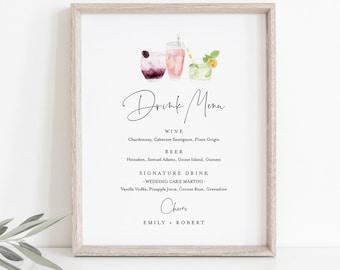 Drink Menu Sign, Editable Wedding Bar Menu Template, Printable Watercolor Cocktail Menu, Instant Download, Templett 8x10 #060-119BP-DM