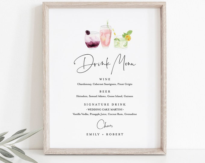 Drink Menu Sign, Editable Wedding Bar Menu Template, Printable Watercolor Cocktail Menu, Instant Download, Templett 8x10 #060-119BP-DM