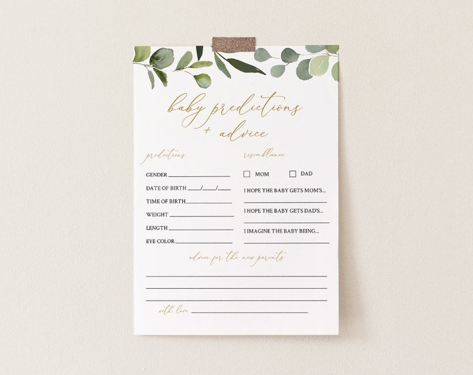 Baby Predictions & Advice Card, Printable Greenery Baby Shower Game, Editable, DIY Baby Advice, INSTANT DOWNLOAD, Templett #056-120BASG