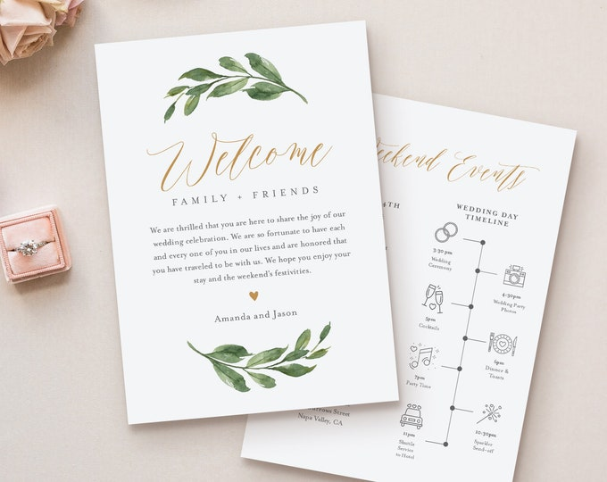 Welcome Bag Letter Template, Editable Welcome Letter & Itinerary / Timeline, Greenery Wedding, Order of Events, INSTANT DOWNLOAD #067-132WB