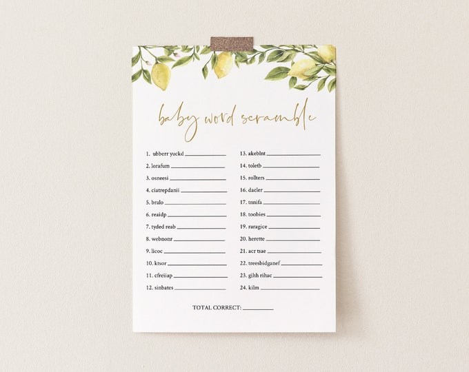 Baby Word Scramble Game, Printable Baby Word Puzzle, Citrus Lemon Greenery Baby Shower, Editable Template, INSTANT DOWNLOAD #089-105BASG
