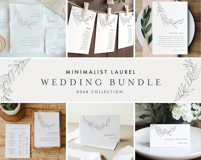 Minimalist Laurel Wedding Bundle, Invitation Suite + Wedding Essentials, 100% Editable Templates, Instant Download, Templett #0012-BUNDLE