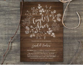 Wedding invitations etsy couples shower invitation template wedding shower printable diy rustic wood wreath bridal instant download editable template 018 107bs stopboris Images
