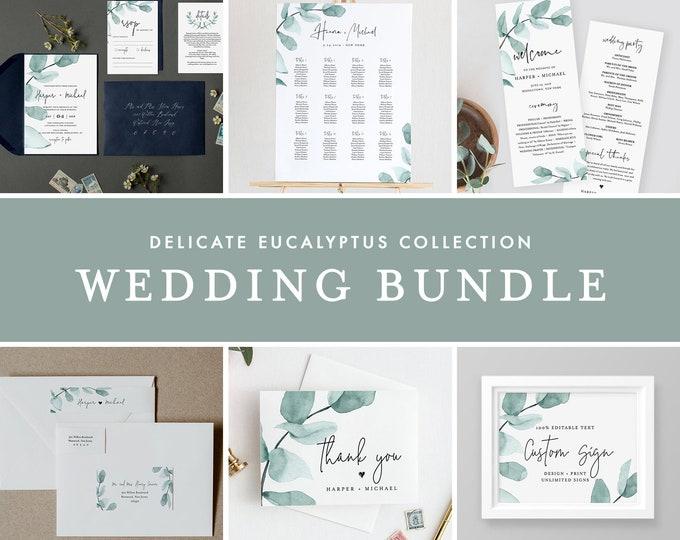 Eucalyptus Wedding Bundle, Greenery Wedding Essential Templates, Invitation Suite, Editable Text, Instant Download, Templett #049-BUNDLE